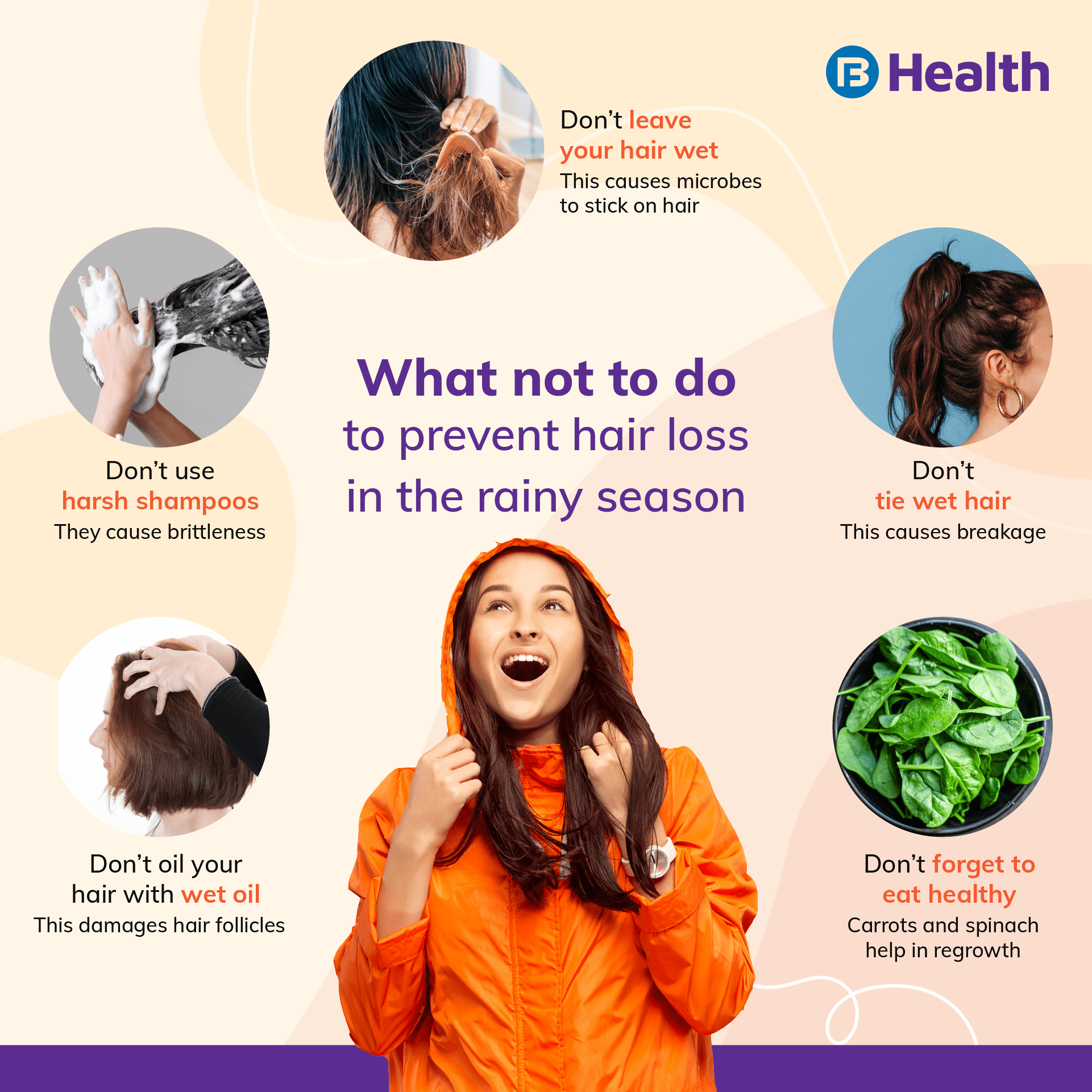 What not to do to prevent hair loss in the rainy season_bajaj Finserv Health